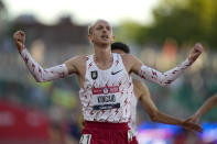 FILE - Woody Kincaid celebrates after winning the men's 10000-meter run at the U.S. Olympic Track and Field Trials in Eugene, Ore., in this Friday, June 18, 2021, file photo. Nike became a leader because it spearheaded innovation that helped people run faster. (AP Photo/Ashley Landis, File)