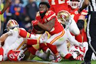 MIAMI, FLORIDA - FEBRUARY 02: Damien Williams #26 of the Kansas City Chiefs reacts in the first quarter of Super Bowl LIV against the San Francisco 49ers at Hard Rock Stadium on February 02, 2020 in Miami, Florida. (Photo by Kevin C. Cox/Getty Images)