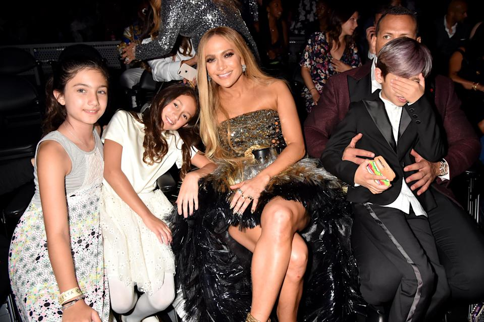 Jennifer Lopez with daughter Emme, son Max, and Alex Rodriguez during the 2018 MTV Video Music Awards at Radio City Music Hall on August 20, 2018 in New York City. (Photo by Jeff Kravitz/FilmMagic)