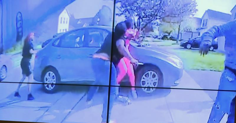 In an image from police bodycam video that the Columbus Police Department played during a news conference Tuesday night, April 20, 2021, Ma'Khia Bryant appears to wield a knife during an altercation before being shot by a police officer in Columbus, Ohio. (Columbus Police Department via WSYX-TV via AP)