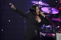 Faith Evans performs on stage at the Pre-Grammy Gala And Salute To Industry Icons at the Beverly Hilton Hotel on Saturday, Jan. 25, 2020, in Beverly Hills, Calif. (Photo by Willy Sanjuan/Invision/AP)