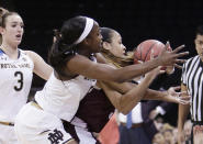 Texas A&M guard Chennedy Carter, right, and Notre Dame guard Jackie Young go after the ball during the first half of a regional semifinal at the NCAA women's college basketball tournament, Saturday, March 24, 2018, Spokane, Wash. (AP Photo/Young Kwak)