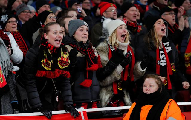 Soccer Football - Europa League Round of 32 Second Leg - Arsenal vs Ostersunds FK - Emirates Stadium, London, Britain - February 22, 2018 Ostersunds FK fans REUTERS/Eddie Keogh