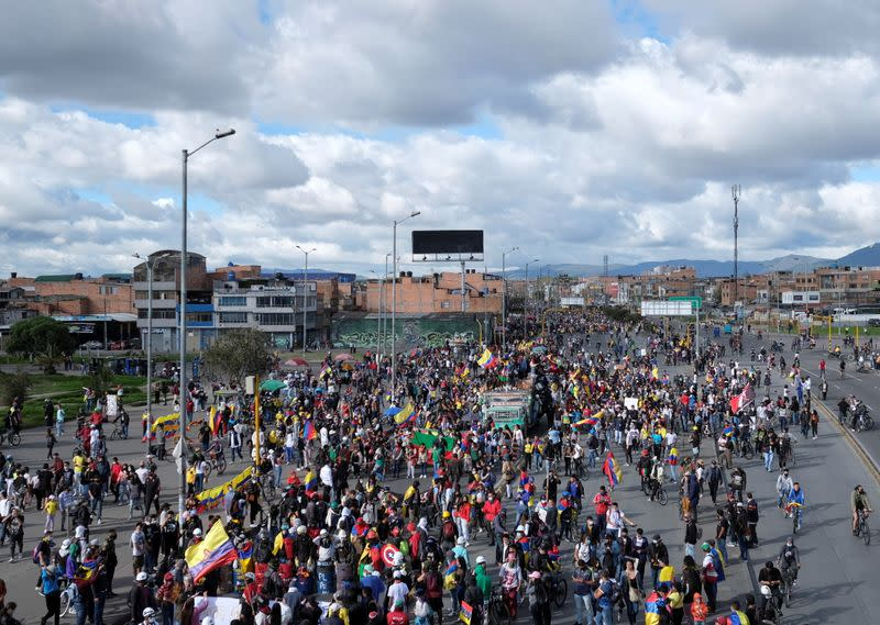 Demonstrators march during anti-government protests, as Colombia commemorates Independence Day, in Bogota
