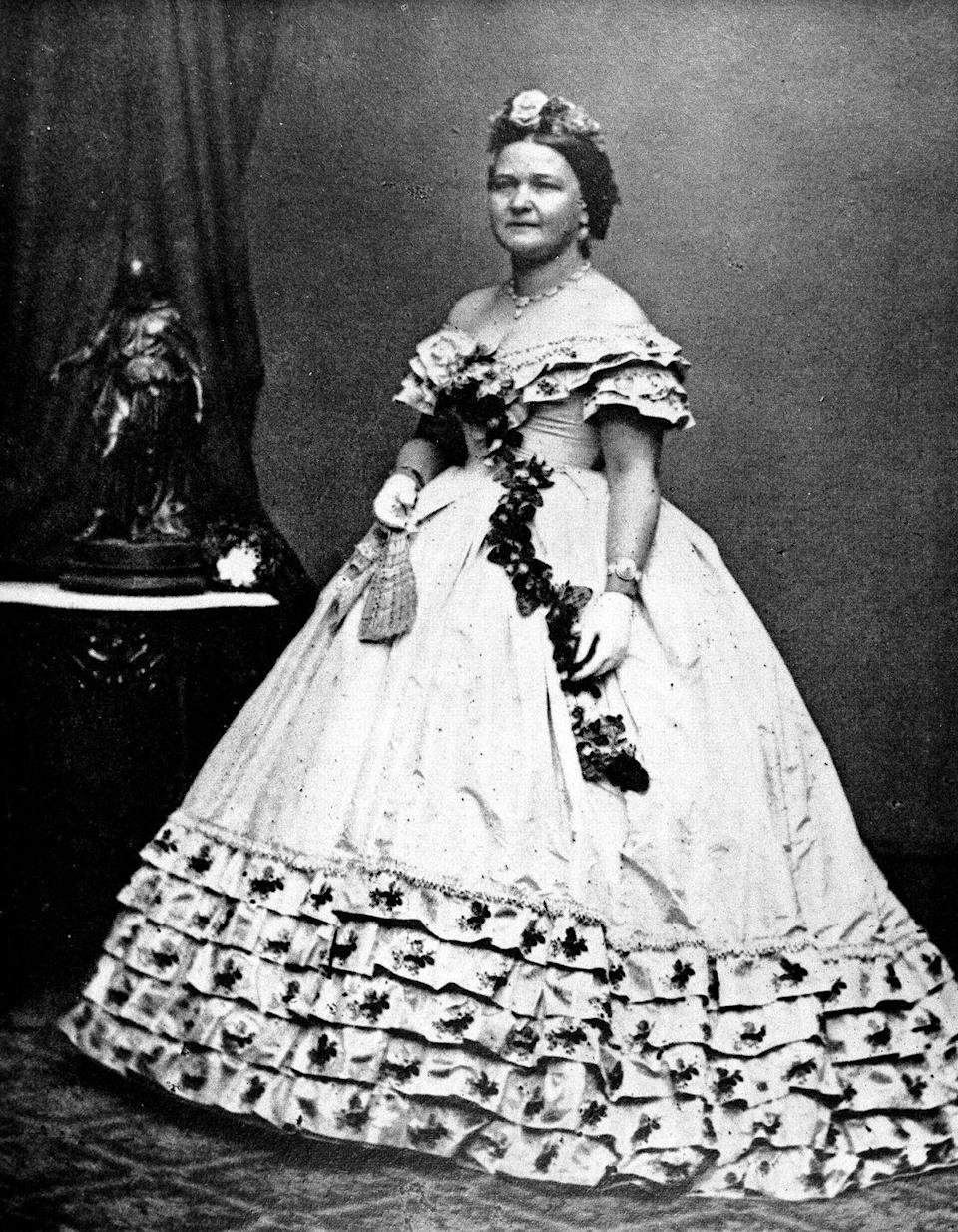 "<p>1861 ball gowns, but make it fashun. Abraham Lincoln's wife, Mary Todd, was often criticized by the public for her ball gown purchases during the Civil War, which would <span class=""redactor-unlink"">cost upward of $2,000</span> (yes, that is <em>a lot</em> for the time period). Lincoln would defend her by <a href=""http://style.time.com/2013/02/18/our-fair-ladies-the-14-most-fashionable-first-ladies/slide/mary-lincoln/"" rel=""nofollow noopener"" target=""_blank"" data-ylk=""slk:stating"" class=""link rapid-noclick-resp"">stating</a>, ""The President glances at my rich dresses and is happy to believe that the few hundred dollars that I obtain from him supply all my wants."" Same. </p>"