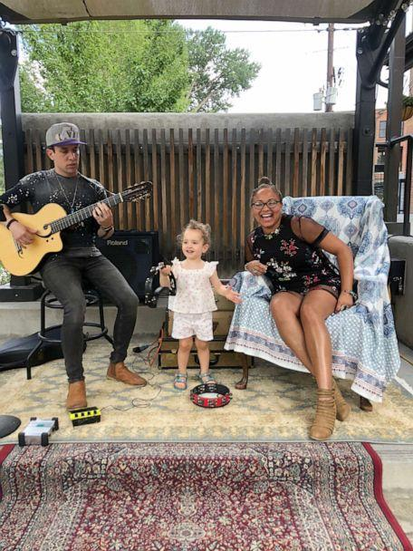PHOTO: Robin Barnes Casey, her husband Pat Casey and their daughter Riley are pictured in Salida, Colo. during a performance in 2021. (Courtesy of Robin Barnes Casey)