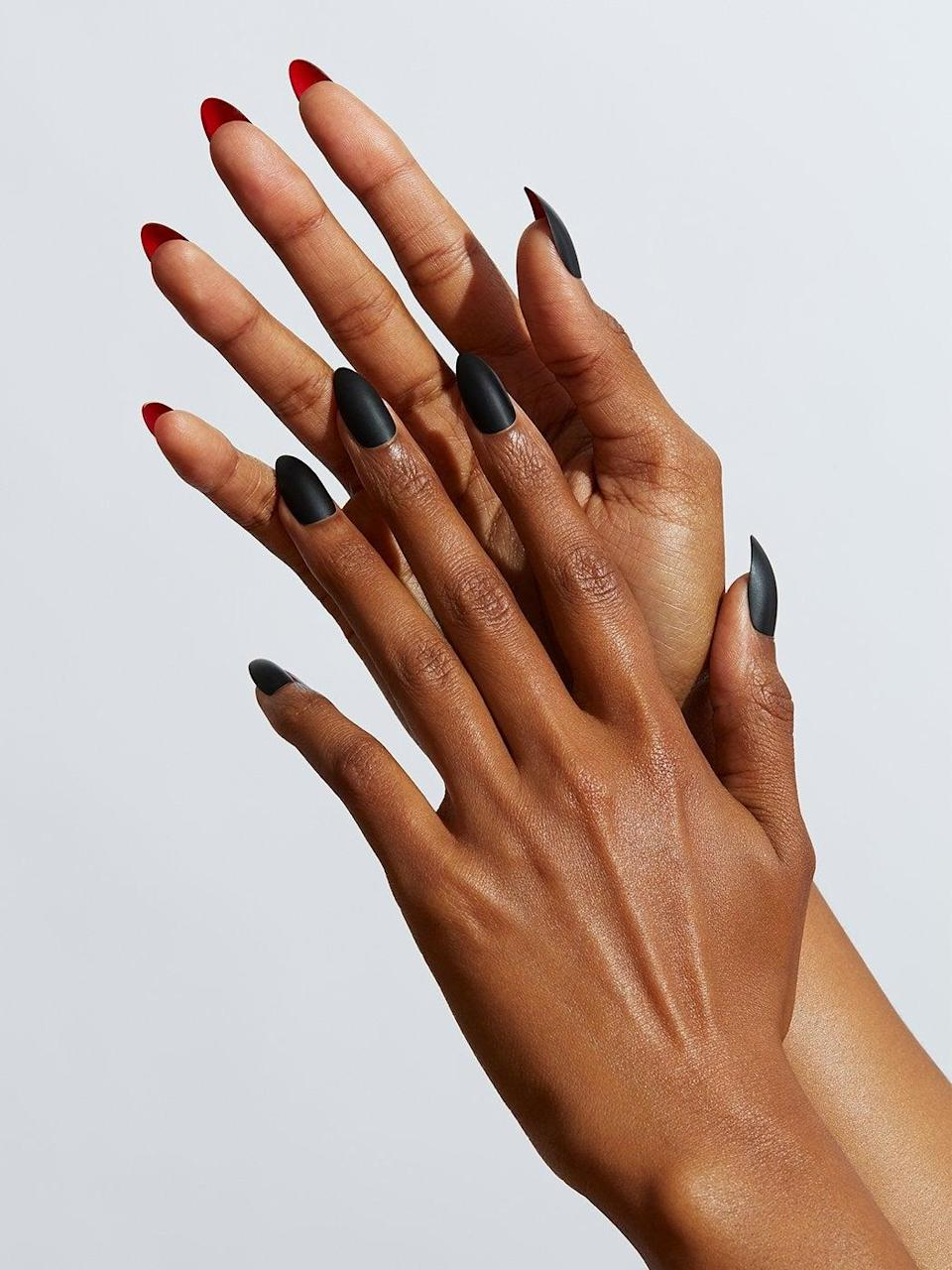 "<h3>Static Nails in Caviar</h3><br>More than 450 reviewers claim that these reusable press ons by Static Nails are the gold standard in fake nails. This particular design — like classic Louboutins, matte black stiletto tips with red underneath — is an undeniably chic take on a Halloween mani. <br><br><strong>Static Nails</strong> CAVIAR, $, available at <a href=""https://go.skimresources.com/?id=30283X879131&url=https%3A%2F%2Fstaticnails.com%2Fcollections%2Freusable-manicure%2Fproducts%2Fcaviar-pre-sale"" rel=""nofollow noopener"" target=""_blank"" data-ylk=""slk:Static Nails"" class=""link rapid-noclick-resp"">Static Nails</a>"