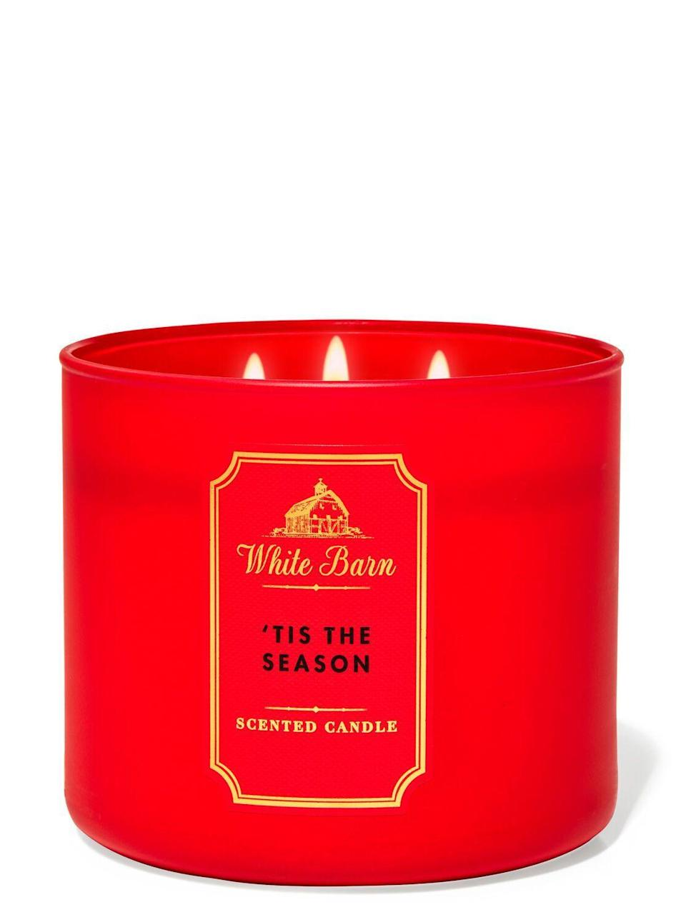"<p><strong>Bath & Body Works</strong></p><p>bathandbodyworks.com</p><p><strong>$24.50</strong></p><p><a href=""https://www.bathandbodyworks.com/p/tis-the-season-3-wick-candle-026180776.html"" rel=""nofollow noopener"" target=""_blank"" data-ylk=""slk:Shop Now"" class=""link rapid-noclick-resp"">Shop Now</a></p><p>On my first, unlit waft I was concerned everything would suddenly smell like Red Hots. After lighting it, it smelled less like Red Hots but still spicy and cinnamon-y! I loved it a *lot* more than I thought I would. And it doubles as simple festive decor. </p>"