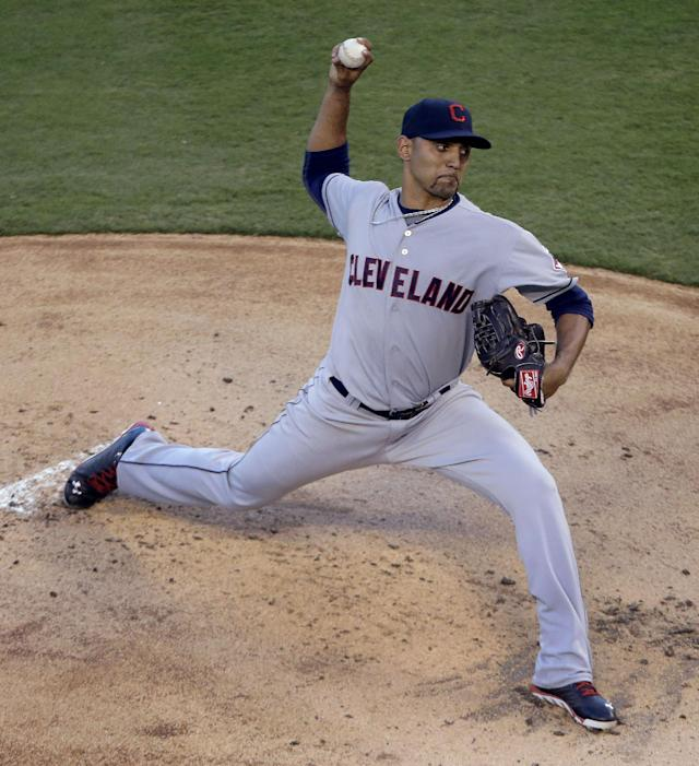Cleveland Indians starting pitcher Danny Salazar throws during the first inning of a baseball game against the Kansas City Royals Friday, Aug. 29, 2014, in Kansas City, Mo. (AP Photo/Charlie Riedel)