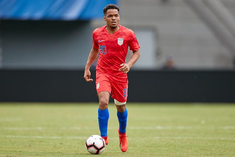 CINCINNATI, OH - JUNE 09: Duane Holmes (20) of the United States dribbles the ball in action during a friendly international match between the United States and Venezuela on June 09, 2019 at Nippert Stadium, in Cincinnati, OH. (Photo by Robin Alam/Icon Sportswire via Getty Images)