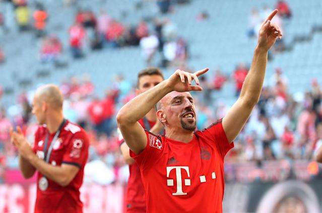 Soccer Football - Bundesliga - Bayern Munich v VfB Stuttgart - Allianz Arena, Munich, Germany - May 12, 2018 Bayern Munich's Franck Ribery and team mates celebrates winning the Bundesliga REUTERS/Michael Dalder DFL RULES TO LIMIT THE ONLINE USAGE DURING MATCH TIME TO 15 PICTURES PER GAME. IMAGE SEQUENCES TO SIMULATE VIDEO IS NOT ALLOWED AT ANY TIME. FOR FURTHER QUERIES PLEASE CONTACT DFL DIRECTLY AT + 49 69 650050