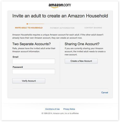 Invite an adult to create an Amazon household page