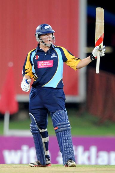 PRETORIA, SOUTH AFRICA - OCTOBER 10: Gary Ballance of Yorkshire celebrates his 50 runs during the Karbonn Smart CLT20 pre-tournament Qualifying Stage match between Yorkshire (England) and Trinidad and Tobago (West Indies) at SuperSport Park on October 10, 2012 in Pretoria, South Africa.  (Photo by Lee Warren / Gallo Images / Getty Images)