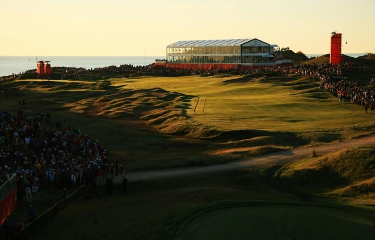 Fans line the first hole at Whistling Straits for the morning fourballs matches on the opening day of the Ryder Cup (AFP/Mike Ehrmann)