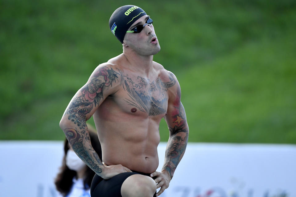 <p>FORO ITALICO, ROME, ITALY - 2021/06/25: Bruno Fratus of Brazil prepares to compete in the men 50m freestyle during the 58th Sette Colli Trophy International Swimming Championships.Bruno Fratus placed first. (Photo by Andrea Staccioli/Insidefoto/LightRocket via Getty Images)</p>