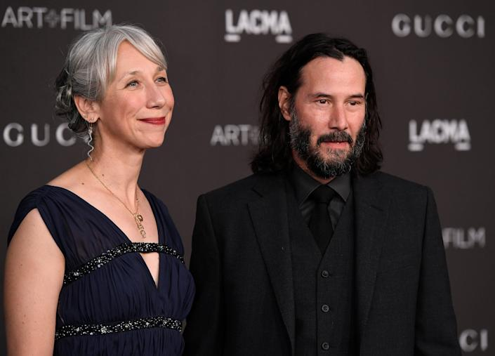 Alexandra Grant and Keanu Reeves attend the 2019 LACMA Art + Film Gala on Nov. 2, 2019, in Los Angeles.