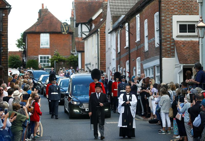 The funeral procession of Dame Vera Lynn takes place in Ditchling, east Sussex. 10 July, 2020: REUTERS