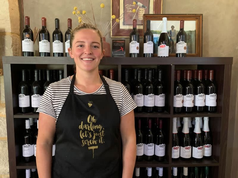 Australian winemaker Savannah Peterson stands at her cellar door in the Hunter Valley