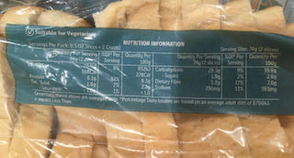 Nutritional label on the back of a pack of bread.