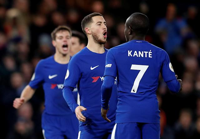 "Soccer Football - Premier League - Chelsea vs West Bromwich Albion - Stamford Bridge, London, Britain - February 12, 2018 Chelsea's Eden Hazard celebrates scoring their third goal with N'Golo Kante REUTERS/Eddie Keogh EDITORIAL USE ONLY. No use with unauthorized audio, video, data, fixture lists, club/league logos or ""live"" services. Online in-match use limited to 75 images, no video emulation. No use in betting, games or single club/league/player publications. Please contact your account representative for further details."