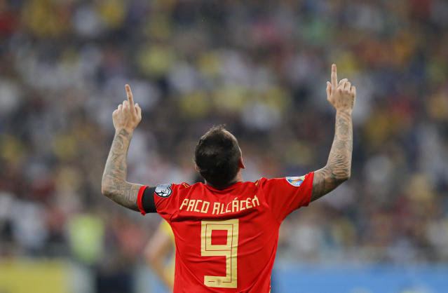 Spain's Paco Alcacer celebrates after scoring his side's second goal during the Euro 2020 group F qualifying soccer match between Romania and Spain, at the National Arena stadium in Bucharest, Romania, Thursday, Sept. 5, 2019. (AP Photo/Vadim Ghirda)
