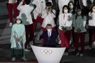 President of the International Olympic Committee Thomas Bach speaks during the opening ceremony at the Olympic Stadium at the 2020 Summer Olympics, Friday, July 23, 2021, in Tokyo. (AP Photo/Morry Gash)