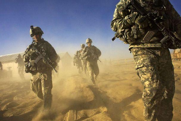 PHOTO: In this file photo taken on Nov. 28, 2008, U.S. Army soldiers from 1-506 Infantry Division set out on a patrol in Paktika province, situated along the Afghan-Pakistan border. (David Furst/AFP via Getty Images, File)