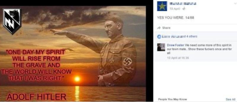"<strong>Andrew Foster commenting on a post about Adolf Hitler, saying ""we need some more of this spirit in our town""</strong> (Photo: Facebook)"