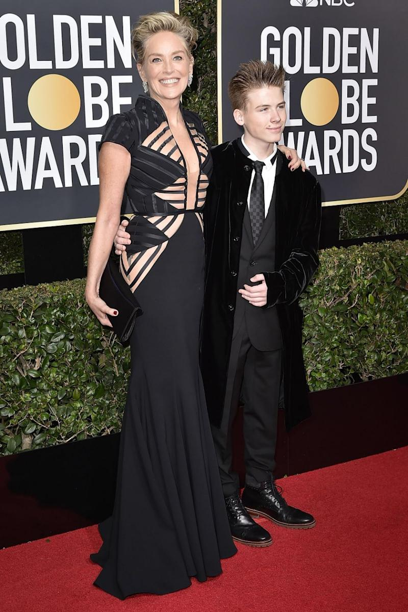 Sharon brought her son Roan along as her date to the awards. Source: Getty