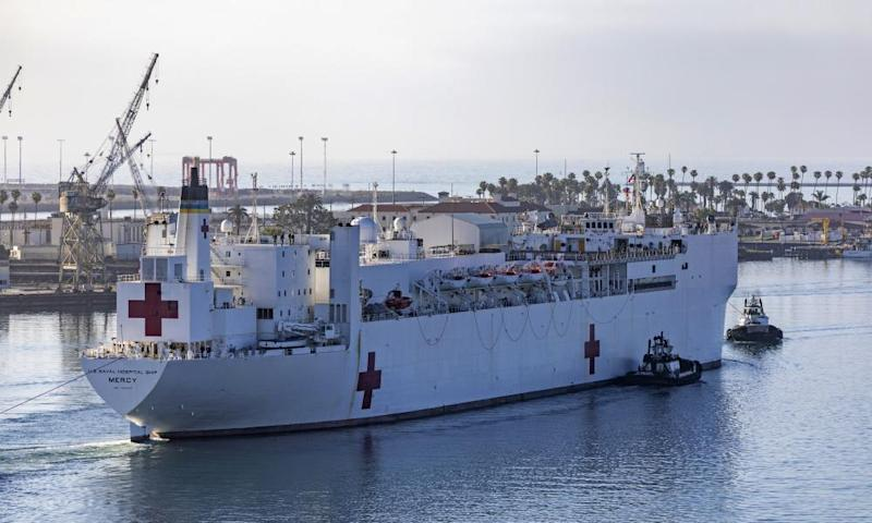 The USNS Mercy hospital ship as it leaves Los Angeles harbor in May.