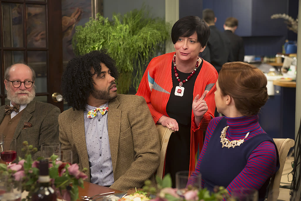 <p>Daveed Diggs as Perry, Rachel Dratch as Professor Leonora Van Arsdale-Yates/Professor Dianne Delamonte-Shapiro and Ellie Kemper as Kimmy Schmidt in Netflix's <i>Unbreakable Kimmy Schmidt</i>.<br /><br />(Photo: Eric Liebowitz/Netflix) </p>