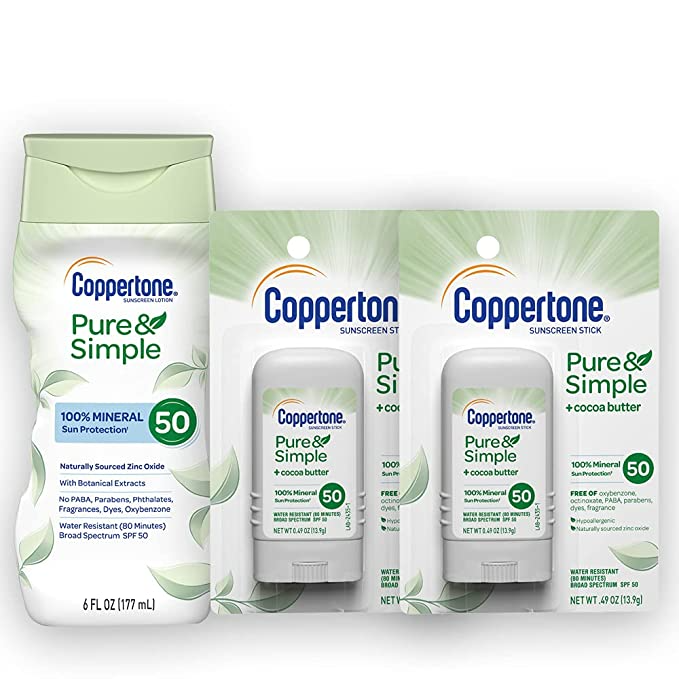 """<h2>Coppertone<br></h2><br>Save 30% on sunscreen bundles<br><br><strong>Coppertone</strong> Pure & Simple SPF 50 Lotion, Plus 2 Stick Sunscreens, $, available at <a href=""""https://amzn.to/2TRWygv"""" rel=""""nofollow noopener"""" target=""""_blank"""" data-ylk=""""slk:Amazon"""" class=""""link rapid-noclick-resp"""">Amazon</a>"""