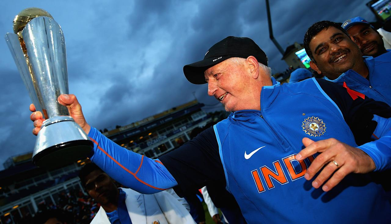 BIRMINGHAM, ENGLAND - JUNE 23:  Duncan Fletcher, Coach of India celebrates his teams win over England during the ICC Champions Trophy Final between England and India at Edgbaston on June 23, 2013 in Birmingham, England.  (Photo by Matthew Lewis-ICC/ICC via Getty Images)