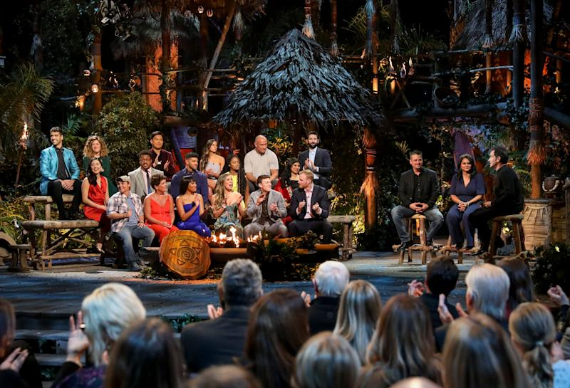 """Jeff Probst addresses the cast at the """"Survivor: Island of Idols"""" finale and reunion show in December 2019. (Photo: CBS Photo Archive via Getty Images)"""