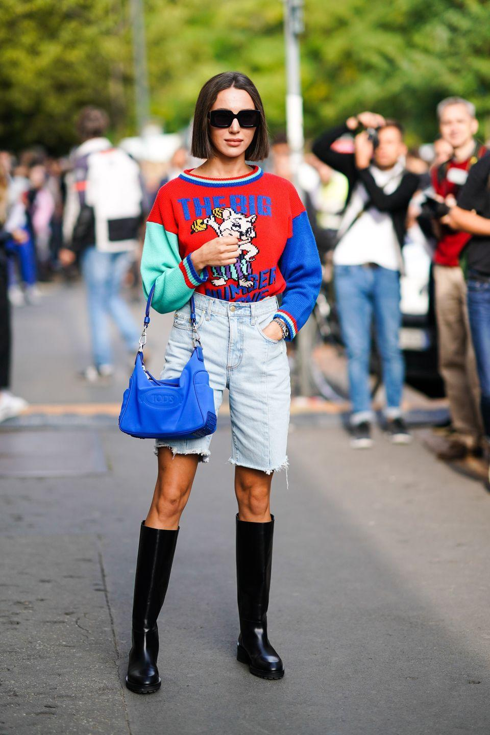<p>A simple way to take your denim from winter to spring is to swap an old pair of jeans for shorts that sit just above the knee (if you're feeling very brave, you could dabble in some home DIY and cut them yourself). Then substitute in crop tops and sandals for trainers and jackets, weather permitting.</p>