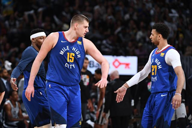 Nikola Jokic and Jamal Murray are a formidable one-two punch for the Nuggets. (Getty)