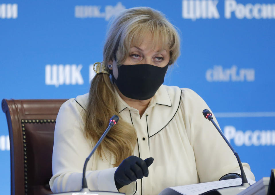 Ella Pamfilova, head of Russian Central Election Commission, wearing a face mask and gloves to protect against coronavirus speaks during a news conference in Moscow, Russia, Thursday, July 2, 2020. Almost 78% of voters in Russia have approved amendments to the country's constitution that will allow President Vladimir Putin to stay in power until 2036, Russian election officials said Thursday after all the votes were counted. Kremlin critics said the vote was rigged. (AP Photo/Alexander Zemlianichenko)