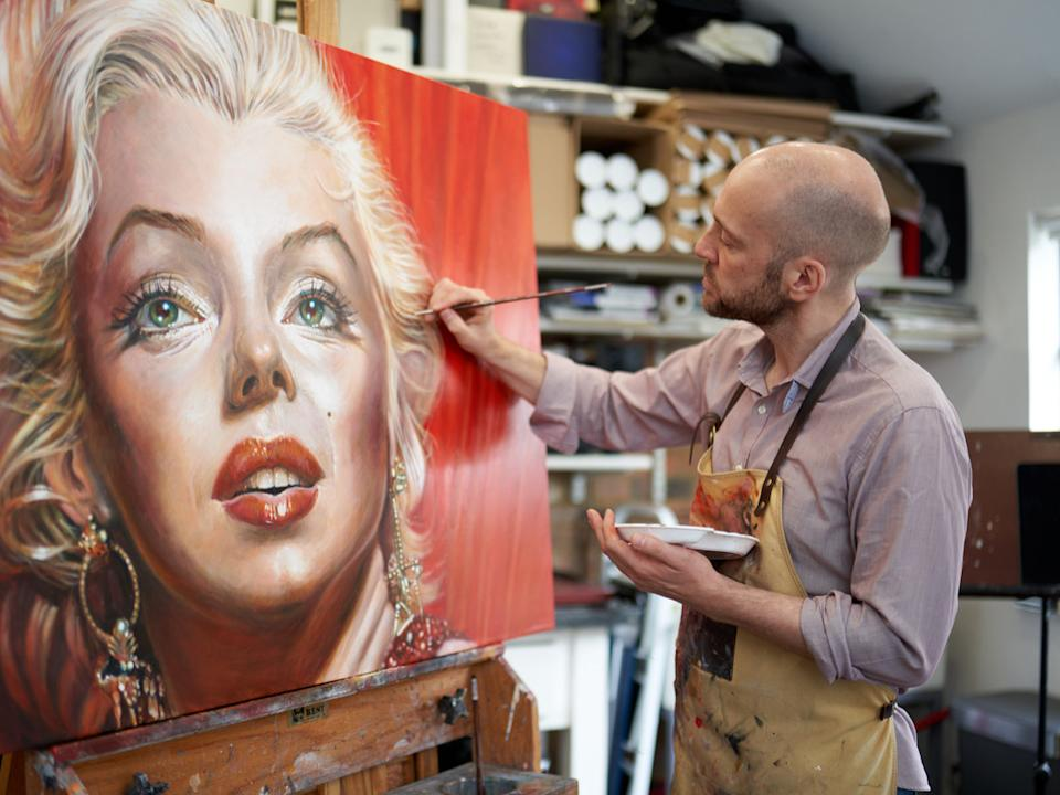 Brown painting a portrait of Marilyn Monroe in his studioChristopher Andreou