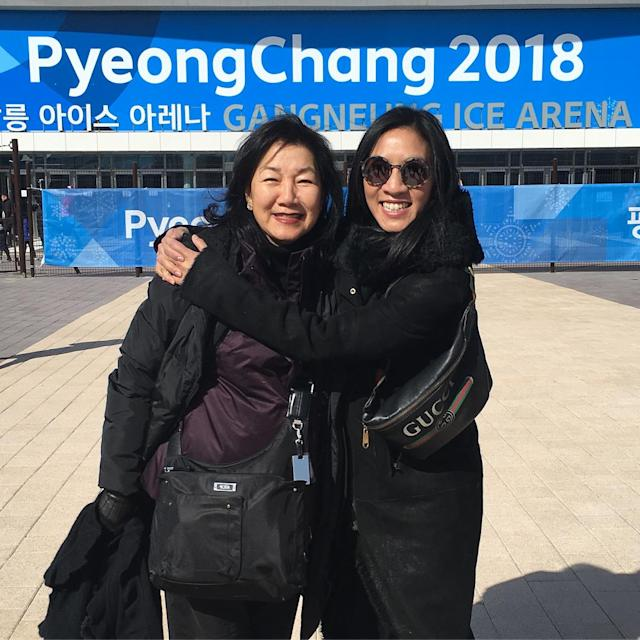 <p>@michellewkwan: Another epic Olympic day with Mama Kwan. Smiling ear to ear seeing my Champions on Ice skating friends @candelorodelireonice2 #OksanaKasakova and friend @michelleyeoh_official<br>(Photo via Instagram/michellewkwan) </p>
