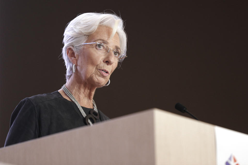 European Central Bank (ECB) President Christine Lagarde speaks during the 16th Congress of Regions (Congres des Regions) in Saint-Ouen, north of Paris on October 19, 2020. (Photo by GEOFFROY VAN DER HASSELT / AFP) (Photo by GEOFFROY VAN DER HASSELT/AFP via Getty Images)