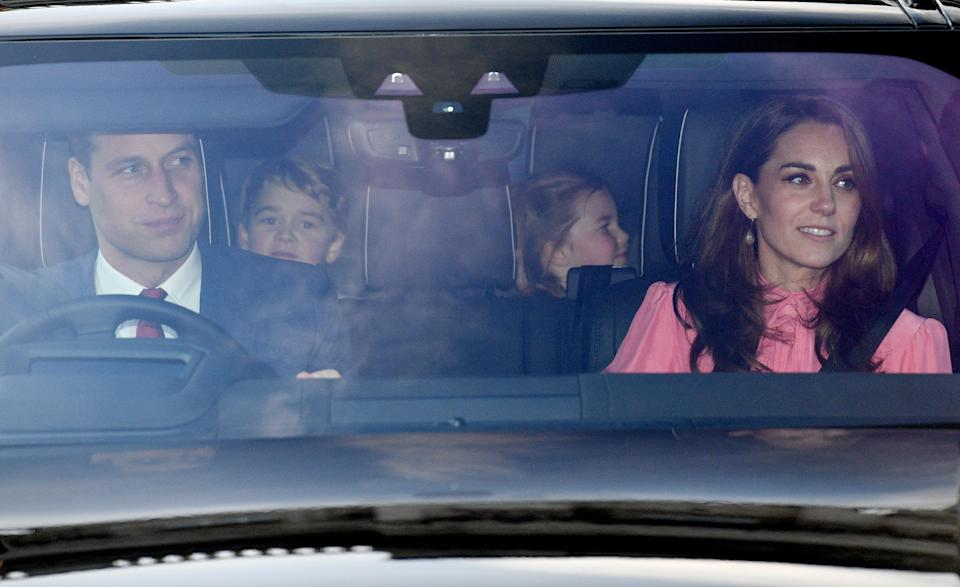 <p>The Duke of Cambridge, Prince George, Princess Charlotte and the Duchess of Cambridge leaving the Queen's Christmas lunch [Photo: PA] </p>