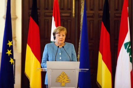 German Chancellor Angela Merkel is seen during a joint news conference at the government palace in Beirut