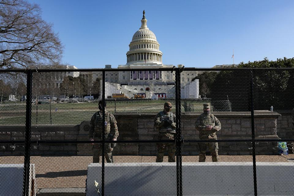 WASHINGTON, DC, USA - JANUARY 13:  Members of the National Guard are issued weapons outside of the U.S. Capitol in Washington, D.C., U.S., on Wednesday, Jan. 13, 2021. (Photo by Yasin Ozturk/Anadolu Agency via Getty Images) (Photo: Anadolu Agency via Getty Images)