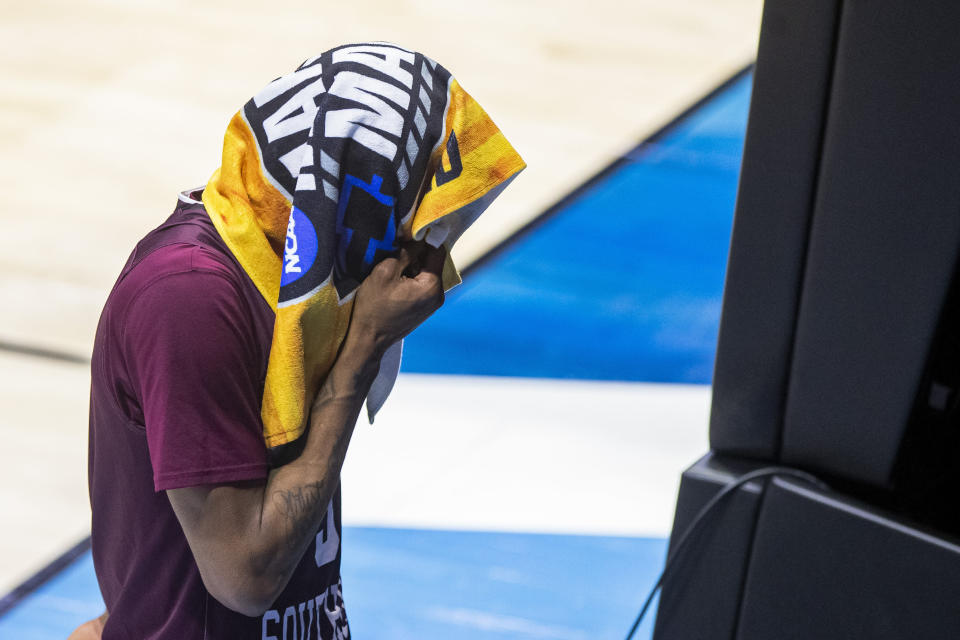 Texas Southern's Ashton McClelland exits the court following Texas Southern's loss to Michigan in a first-round game in the NCAA men's college basketball tournament, Saturday, March 20, 2021, at Mackey Arena in West Lafayette, Ind. (AP Photo/Robert Franklin)