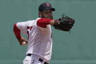 Boston Red Sox's Eduardo Rodriguez winds up for a pitch against the New York Yankees in the first inning of a baseball game, Sunday, June 27, 2021, in Boston. (AP Photo/Steven Senne)