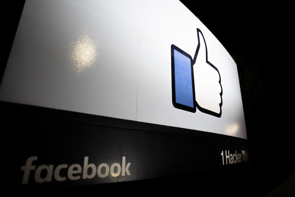 """Facebook logo """"Like button"""" is illuminated at night in Menlo Park, California, United States on October 3, 2019. Attorney General William P. Barr signs letter, addressed to Facebook�s CEO, Mark Zuckerberg, requesting that Facebook not proceed with its end-to-end encryption plan without ensuring there will be no reduction in the safety of Facebook users and others, and without providing law enforcement court-authorized access to the content of communications to protect the public. (Photo by Yichuan Cao/Sipa USA)"""