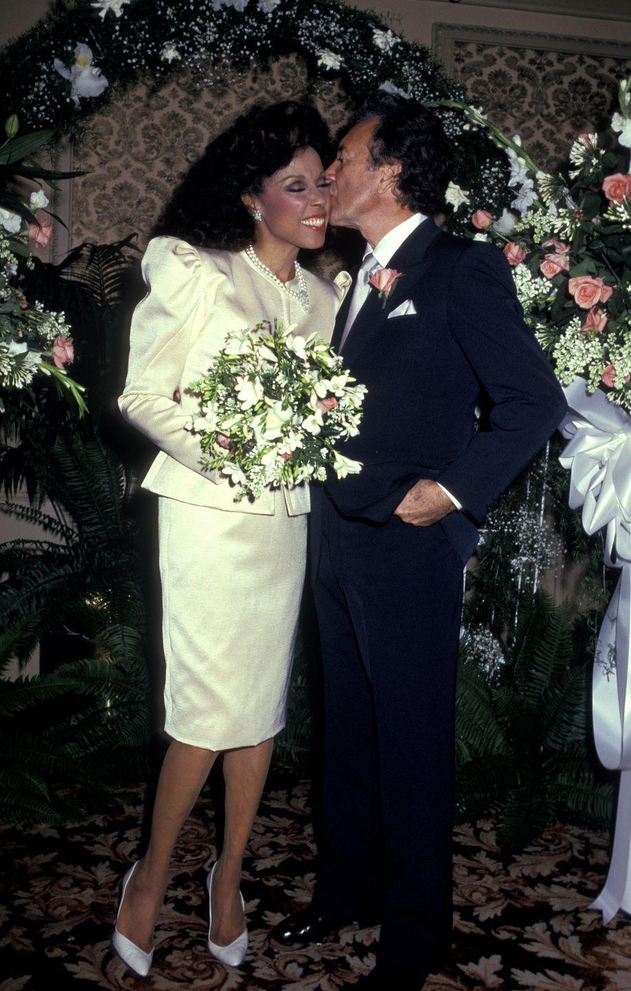 <p>Diahann Carroll was married three times, engaged four, before tying the knot to singer Vic Damone in 1987. The actress wore a skirt suit made in an ivory satin fabric for the ceremony at the Golden Nugget Casino in Atlantic City. They were married until 1996. </p>
