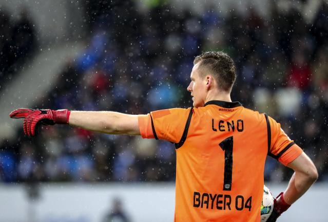 Bernd Leno in action for Bayer Leverkusen