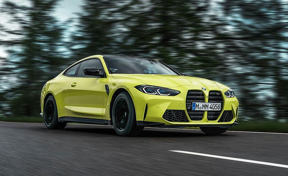 """<p>Everyone has been focused on the funky new grille of the 2021 BMW 4-Series, and for good reason. But the 4-Series coupes and convertibles haven't just lost their classic good looks, they've also lost their third pedal. Last year BMW dropped the stick shift from the new 3-series, now the 4-Series is automatic only, with one exception. The 2021 <a href=""""https://www.caranddriver.com/bmw/m4"""" rel=""""nofollow noopener"""" target=""""_blank"""" data-ylk=""""slk:M4"""" class=""""link rapid-noclick-resp"""">M4</a> Coupe can be ordered with and a row-your-own six-speed behind its twin-turbo inline six, including the 503-hp M4 Competition. </p>"""