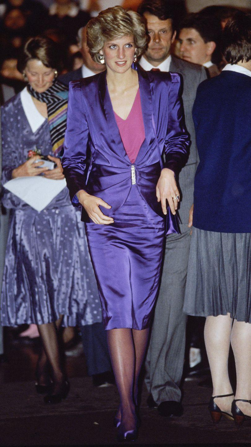 <p>In a purple Bruce Oldfield suit at a concert in Melbourne, Australia. </p>